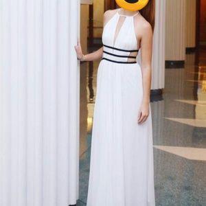 Express Deep V Long White Dress